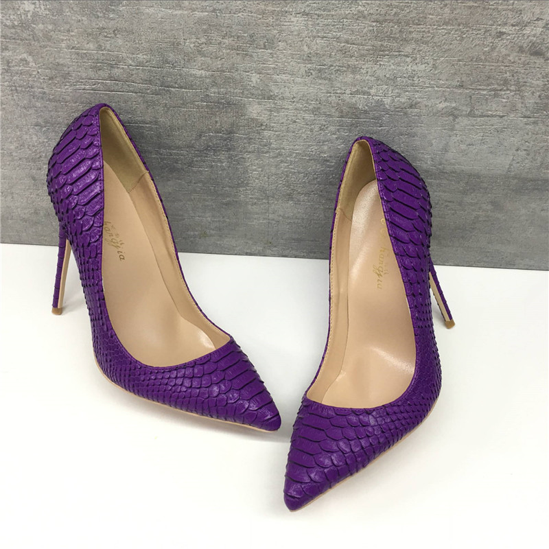 Brand Fashion New Pointed Purple High-heeled Exquisite Snake Pattern Elegant Single Shoes 12cm High Heel Ladies Party Shoes