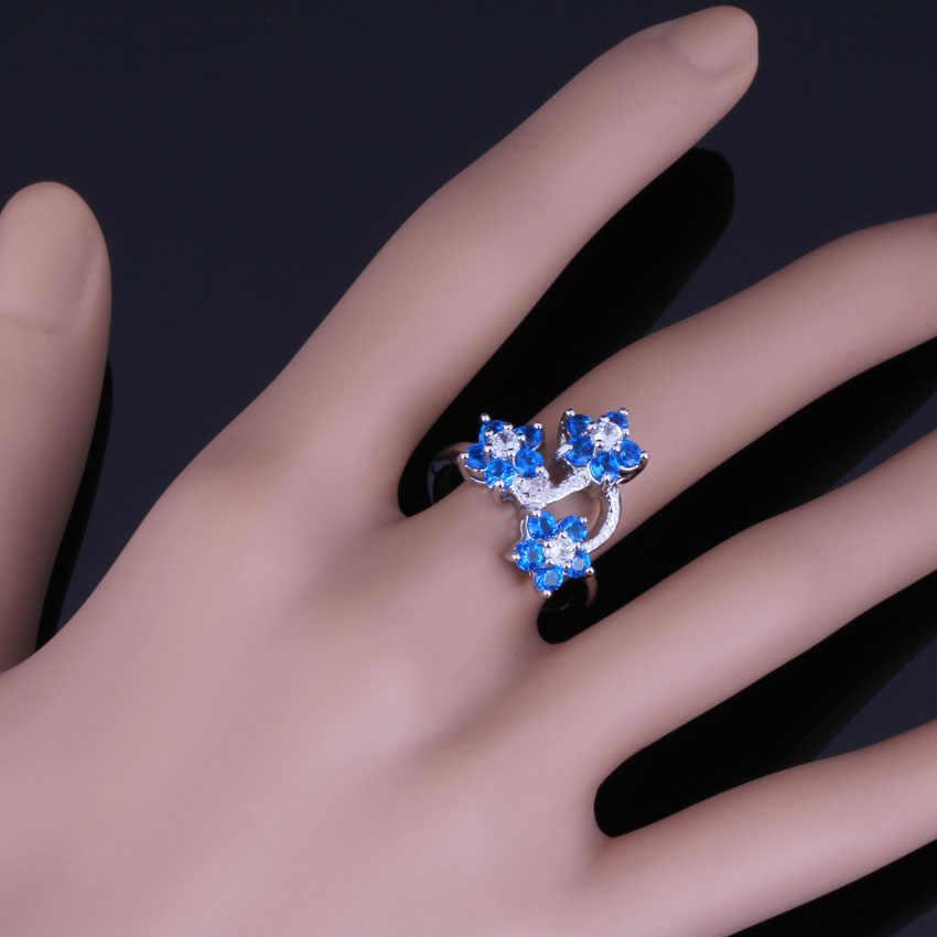 Menarik Bunga Biru Putih CZ 925 Sterling Cincin Perak untuk Wanita V0598