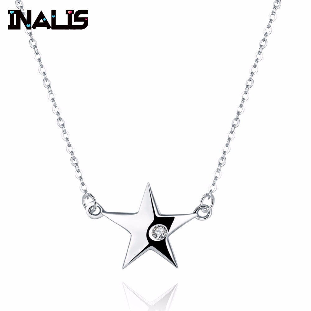 Lovely Necklace S925 Sterling Silver Star Shape with Single Clear Cubic Zirconia Crystal Pendant Fine Jewelry for Women