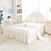 twin full purple pink Lace bedspread princess 1.5x2m ,1.8x2m bed skirt sets bed skirts + two pillowcases 3 pcs 100%cotton