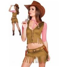 6f9813b37b Sexy Cowgirl Cowboy Traje Festa de Halloween Traje de Vaqueiro Para  Mulheres Adultas Cosplay Vestido Ocidental
