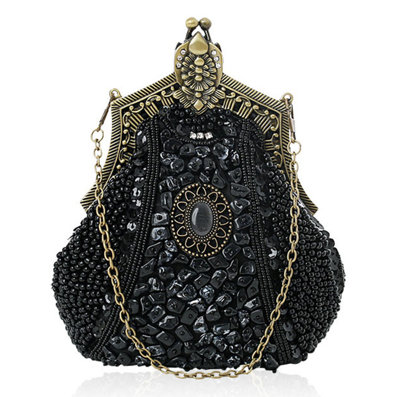Beaded Sequin Design Metal Frame Kissing Lock Satin Interior Evening Clutch