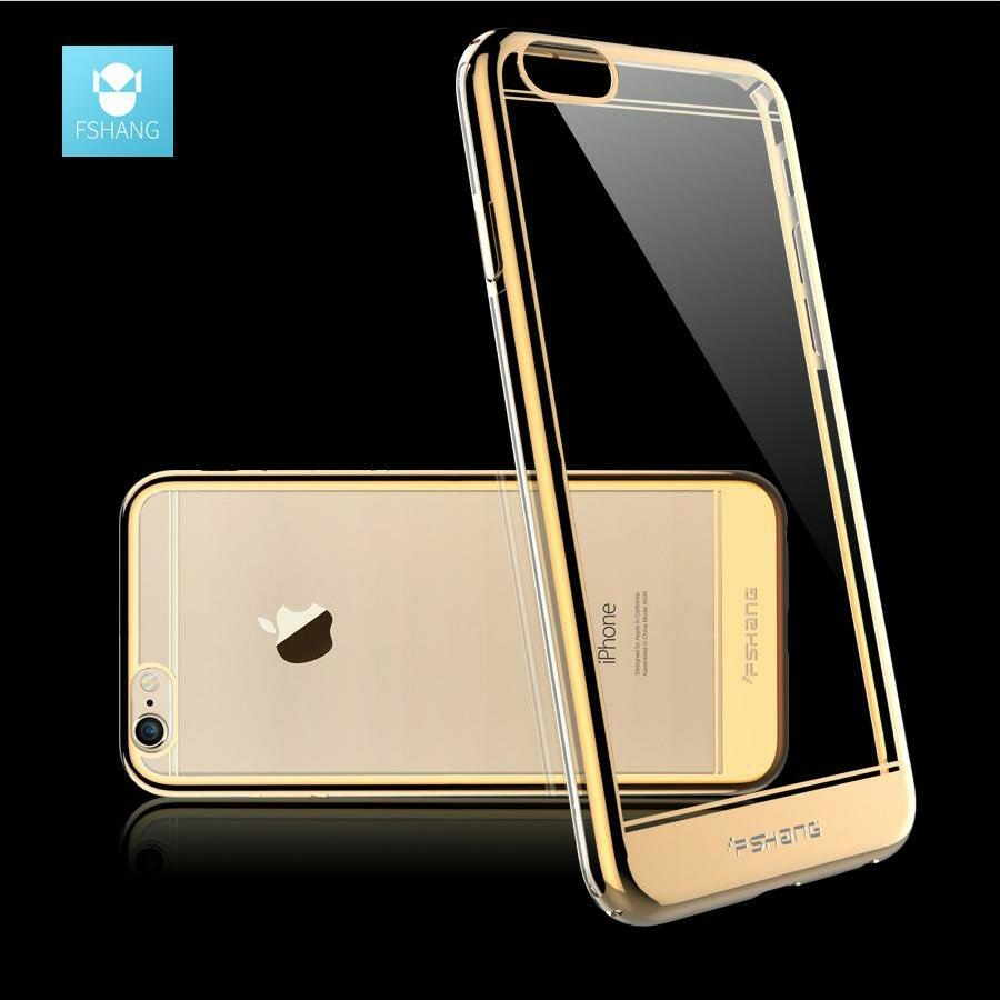 FSHANG Luxury Plating Case For iPhone 6 6s Cases Ultra Thin Transparent Capinhas PC Cover For iPhone 6 s 6s Plus Coque Fundas