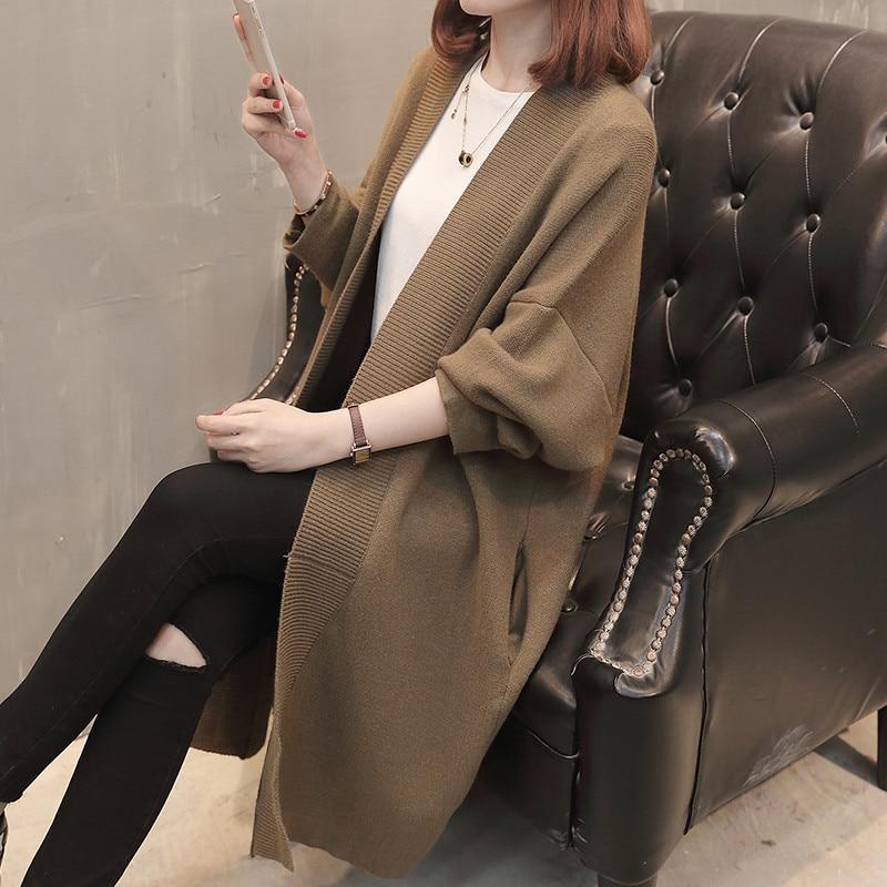 Chaud La Automne Veste 2019 De À Long gray Khaki Femmes Okxgnz Moyen Black dark Nouveau Chandail Pull Femelle Mode Vêtements Lâche Cardigan Manteau Tricot 5YUvn88P