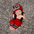 New Character Newborn Photography Props Unisex Crochet Knit Cap Handmade Accessories Fireman Costume Baby Hat With Pants Sets
