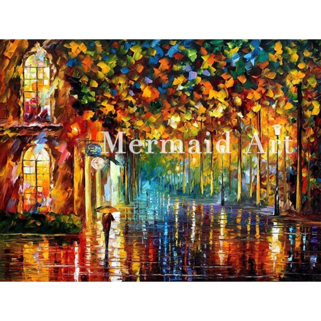 Hand Painted Oil Painting Late Stroll Miami On Canvas For Abstract - Painting miami