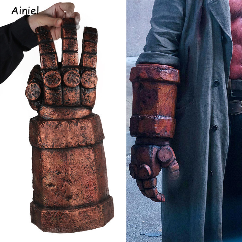 Movie Hellboy Cosplay Gloves Right Hand of Destruction Latex Arm Gloves Weapon Mask Halloween Cosplay Costume Mask Props for Men