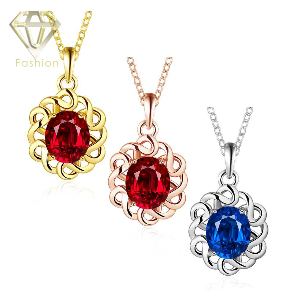Costume Jewellery Uk Hot Rose White Gold Color Hollow Flower With Red Blue Crystal Pendant Necklaces For Women Party