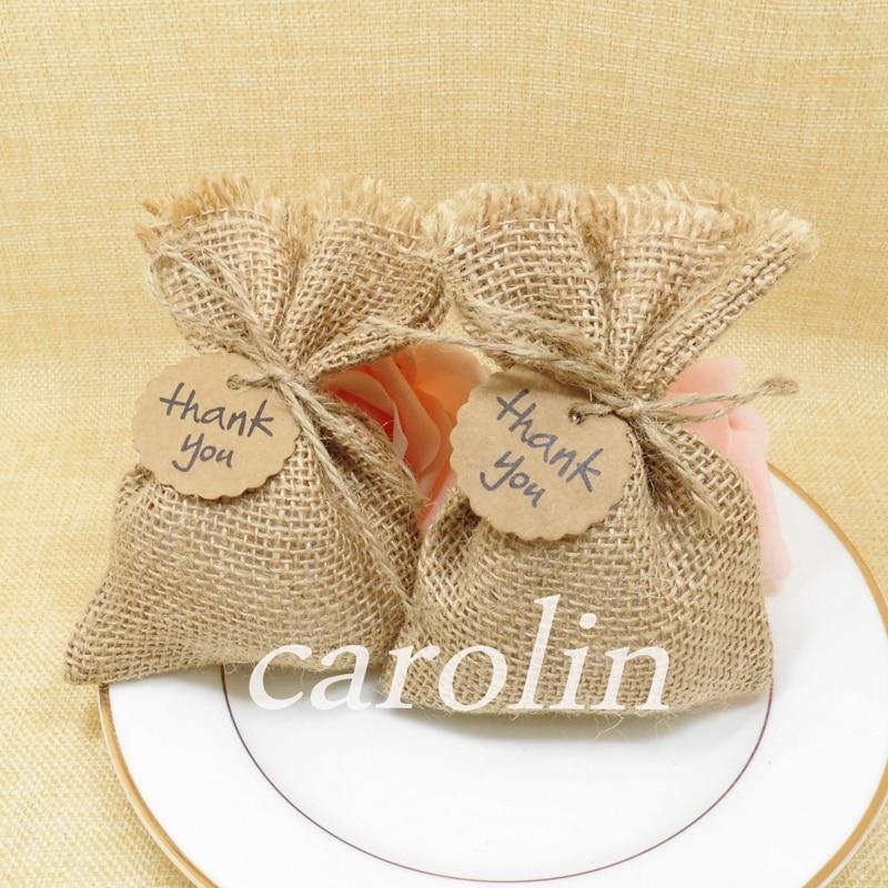 20pcs lot 10 14cm hessian burlap burlap bag jute gift for Decorative burlap bags