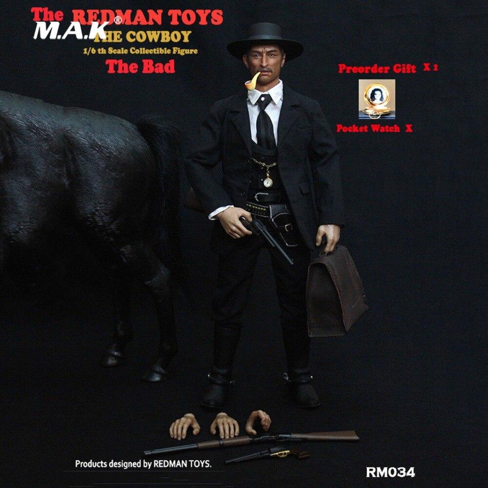 Para a coleta de BRINQUEDOS REDMAN RM034 O Cowboy O Mau 1/6 Escala Figura Collectible Conjuntos Completos Masculinos