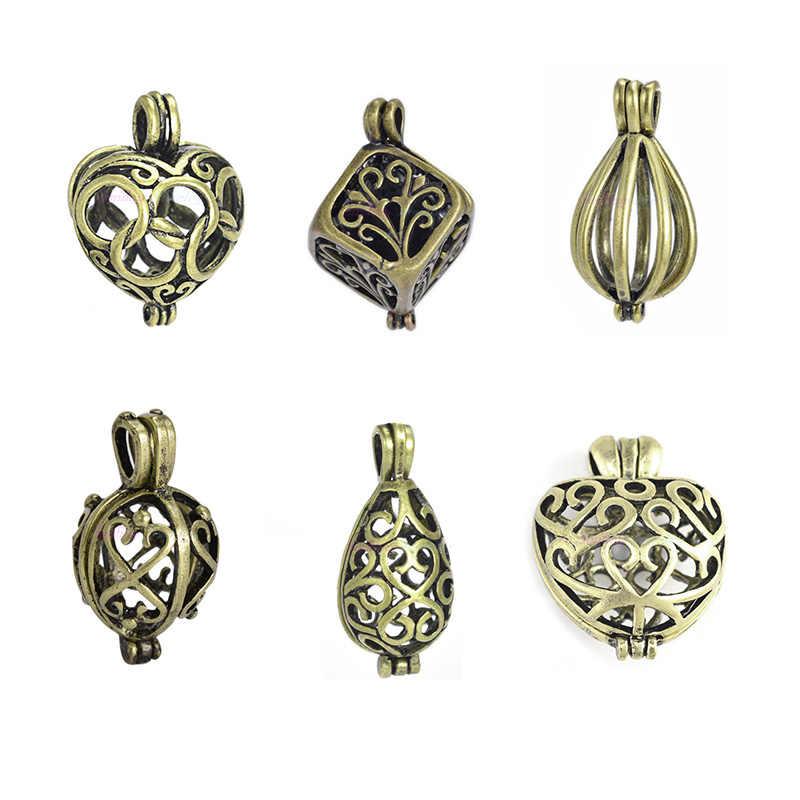 6 unids/set caja de plata antigua gota de agua de corazón perla hueco jaula aceite esencial difusor medallón colgante para la fabricación de joyas