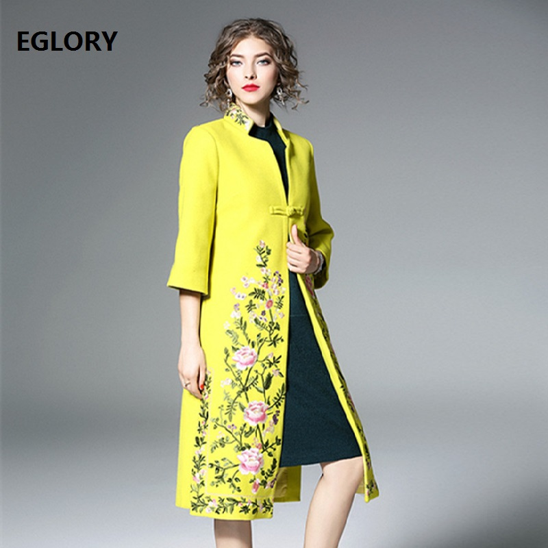 Top Quality Brand New 2018 Winter Wool Long Jackets Women Luxurious Embroidery Single Button Coat Female Vintage Wool Coat XXXL