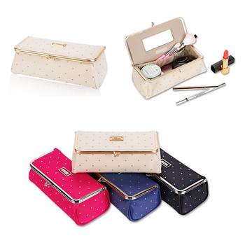 Women Fashion Party Makeup Bag With Mirror Small Cosmetic Organizer Travel Make Up Pen Lipstick Brush Toolbox Pouch Storage Case 3