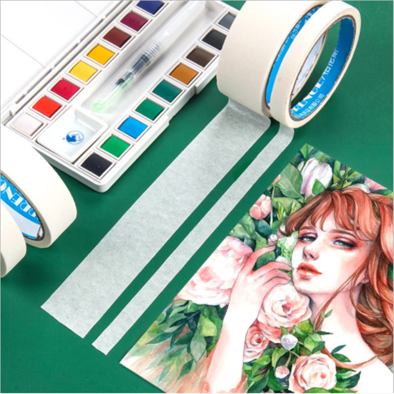 5 Size Watercolor Art Masking Tape Set Drawing Leave Blank Sticker  Reuse Art Tapes Diy Scrapbooking Sticker