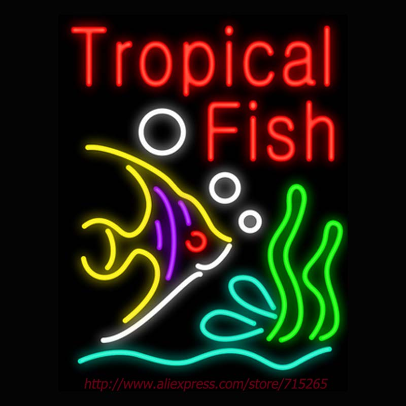 Hot Neon Sign Tropical Fish Real Glass Tube Neon Signs Letters Handcrafted Custom Bulbs Sign Store Display Iconic Signs 31x24
