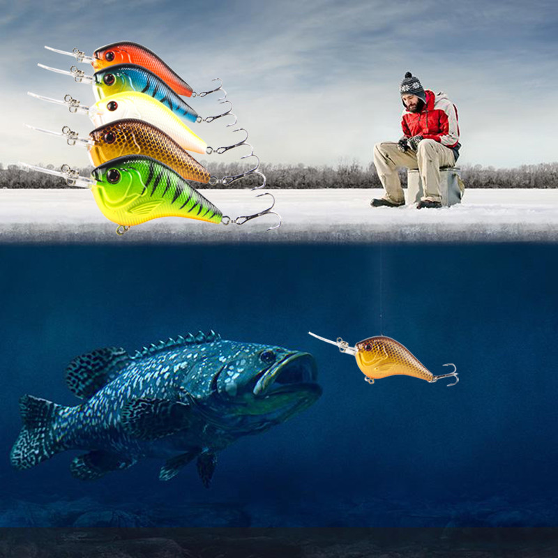 5pc Fishing Lures Hooks Curling Deep Swimming Hard Baits Set Kit Wobble Slow Floating Dock Fishing Wobblers Lifelike C3