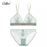 COLLEER Ultra Thin Stylish Decal Sexy Lace Bra With Pad Woman Dress Underwear Set Intimate Embroidery