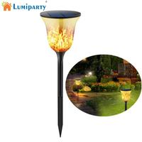 LumiParty 96 LED Solar Powered Torch Light Flame Lawn Pin Lamp Christmas Wedding Festival Yard Decoration