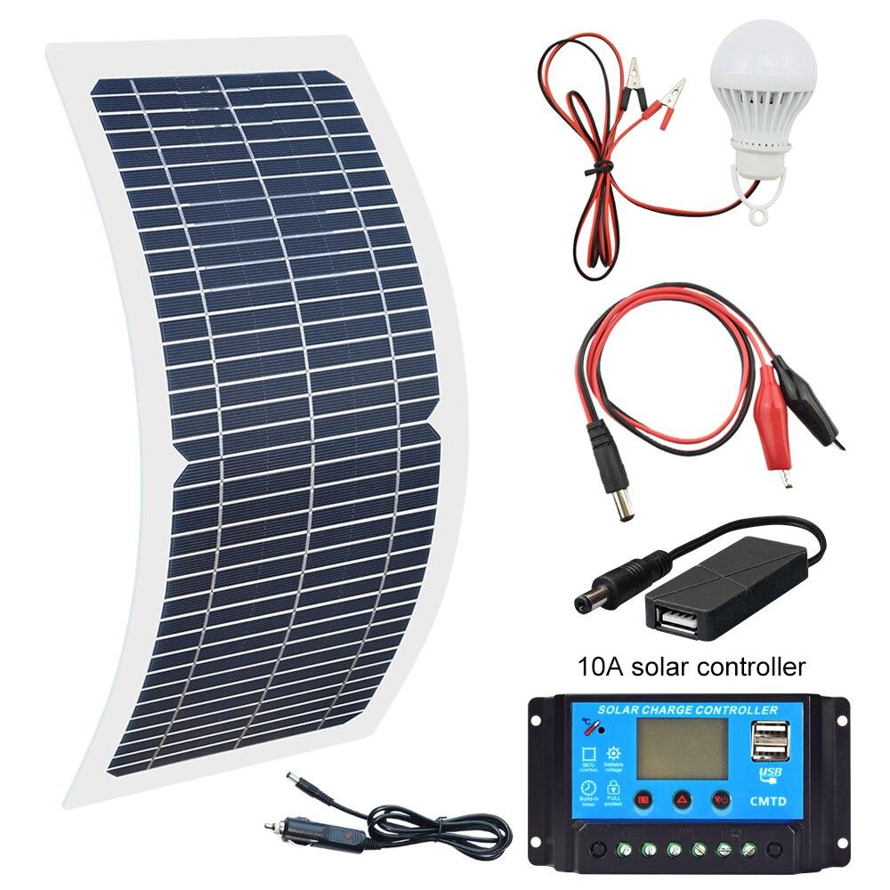 18 В в 10 Вт монокристаллическая солнечная панель + 10A Контроллер заряда батареи зарядное устройство комплект светодио дный светодиодный свет...