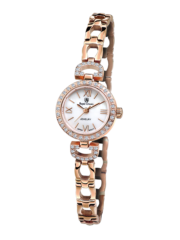 Royal Crown Jewelry Watch 6536S Italy brand Diamond Japan MIYOTA Rose gold Silver bracelet 19mm Claw set Soviet drill the silver crown