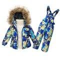 Warm capucha down jacket coat parka chaqueta de invierno con la piel del bebé niños niñas Grueso traje de nieve pato ropa abajo y abrigos esquimales conjunto