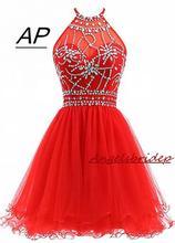 ANGELSBRIDEP ホルターショートホームカミングドレスドレス 2020 セクシーバックビーズチュール Vestidos Formatura Curto ドレスパーティーセレブドレス