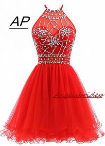 Image 1 - ANGELSBRIDEP Halter Short Homecoming Dresses 2020 Sexy Backless Beading Tulle Vestidos Formatura Curto Party Celebrity Gown