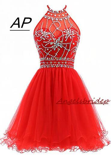 ANGELSBRIDEP Halter Short Homecoming Dresses 2020 Sexy Backless Beading Tulle Vestidos Formatura Curto Party Celebrity Gown