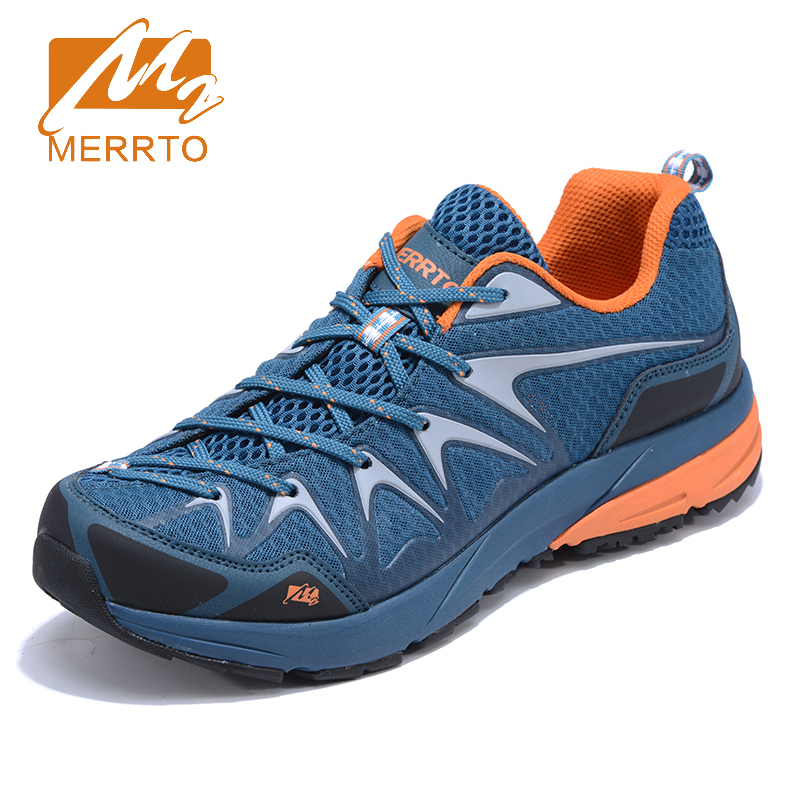 2017 Merrto Mens Trail Running Shoes Light Weight Outdoor Sports Shoes Breathable Travel Shoes Grey Black Free Shipping MT18657 2017 merrto mens hiking boots waterproof breathable outdoor sports shoes color black khaki grey for men free shipping mt18638