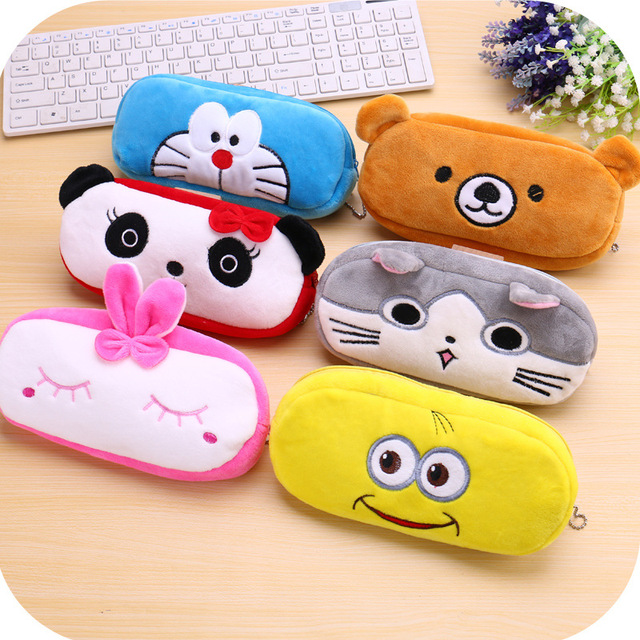 Cute School Students Bag Kawaii Kids Plush Pen Bag Box Cartoon Cat Bear Animals Stationery Bag For Children Girls Boys