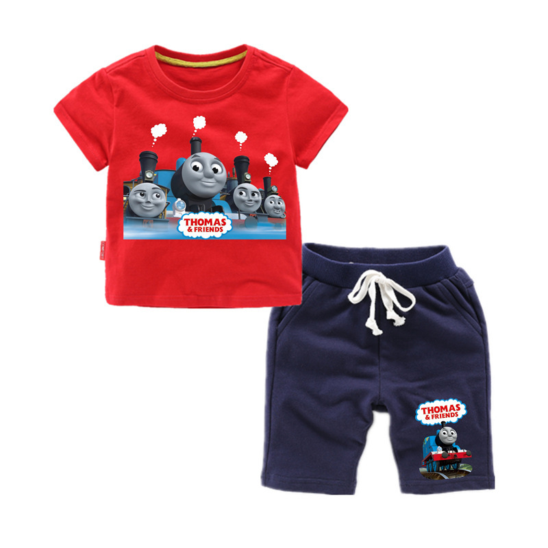 Thomas And Friends 2019 Summer Fashion Casual Short Sleeve O-neck  New  ClothesThomas Short Sleeve Cotton T-Shirt + Pants  Suit