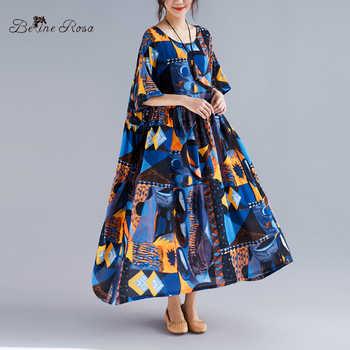 BelineRosa European Fashion Boho Dress 2019 Summer Style Short Sleeve Large Size Dress Fit XL,XXL,3XL,4XL,5XL TYW00979 - DISCOUNT ITEM  50% OFF All Category