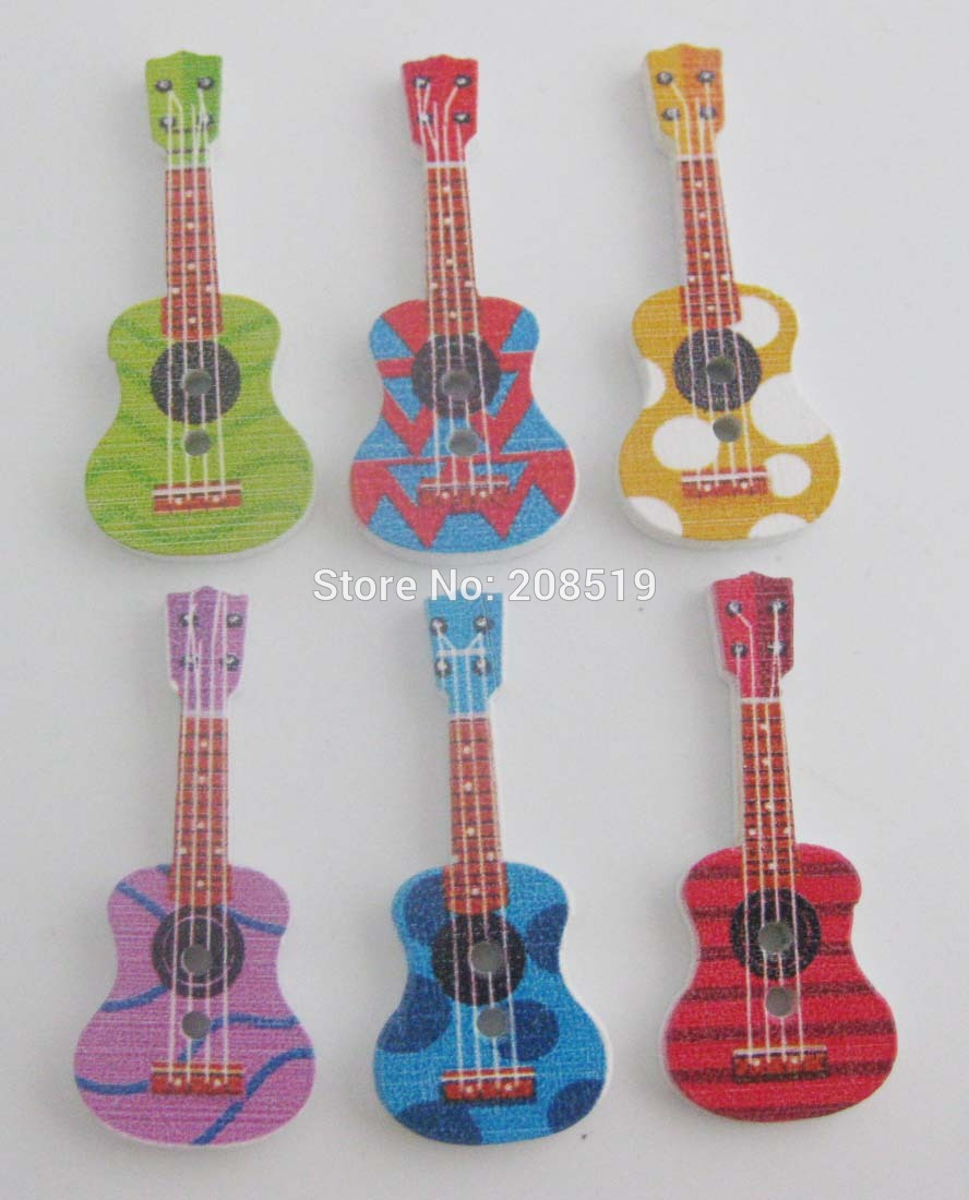 WBNWGK Fancy Guitar shape wood painting Buttons Mix 100pcs Children welcomed decorative Button sewing Holes