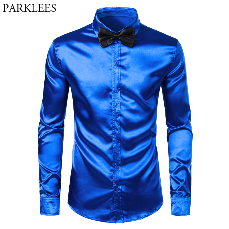 Royal Blue Silk Dress Shirt Men Chemise 2019 Satin Smooth Men Party Prom Shirt Busienss Wedding Male Casual Shirt With Bow Tie