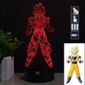 HY Super Saiyan I 3D Remote LED Night Light Touch Table Desk Lamp 7 Color Change USB LED Charger Gift Multifunction Card