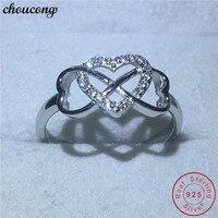 Choucong сердце влюбленных настоящее Soild кольцо из стерлингового серебра 925 фианит AAAAA обручальные Обручальные кольца для мужчин и женщин Bijoux