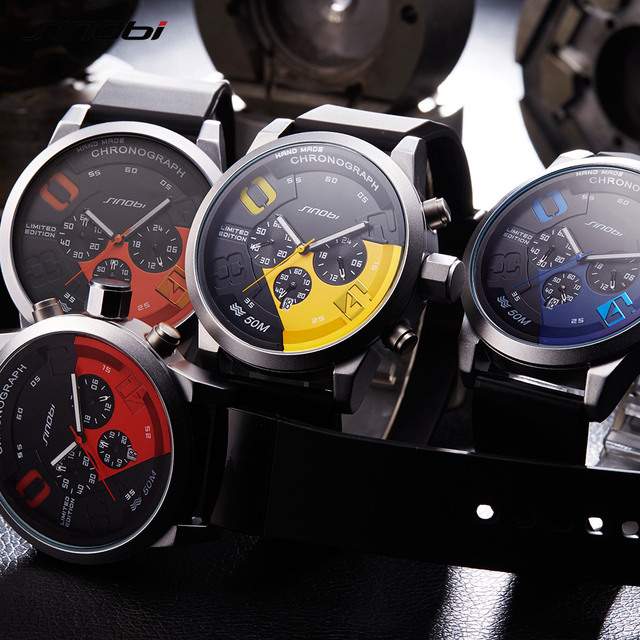 SINOBI Large Dial Design Chronograph Sport Mens Watches Fashion Brand Military Waterproof Quartz Watch Clock Relogio Masculino 4