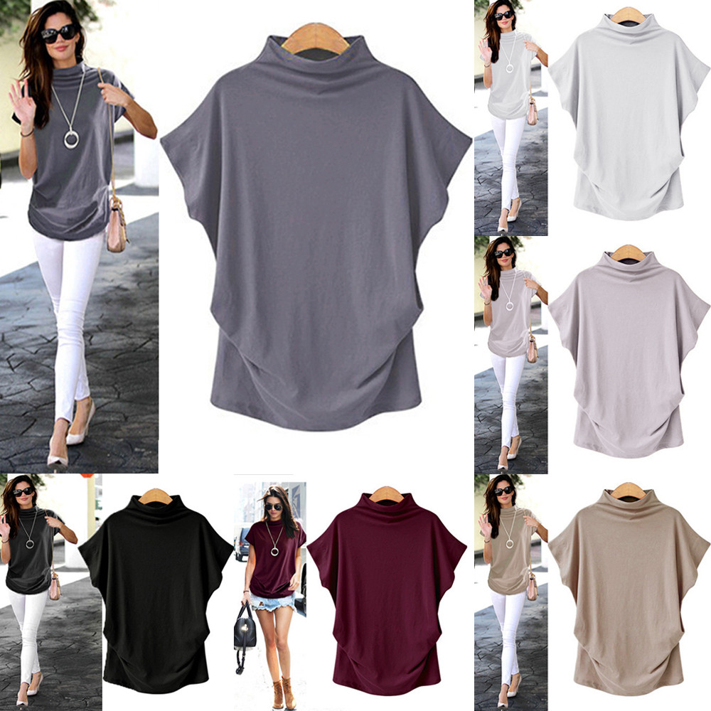 Women's High Collar Short-sleeved T-shirt Top 2019 Ladies Cotton Solid Color Casual Fashion Shirt Shirt T-shirt Large Size