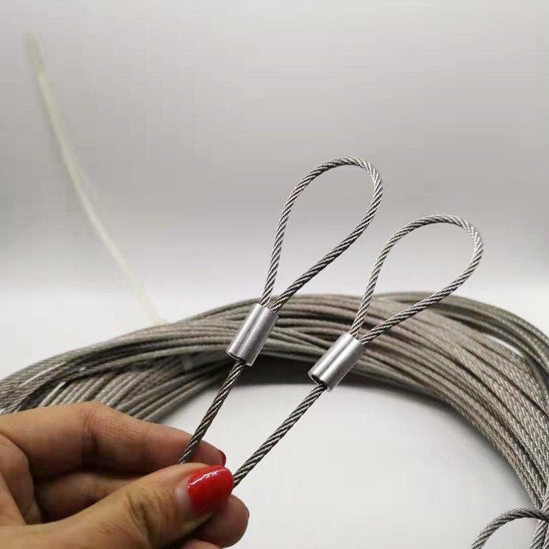 100 M 1mm diamètre 304 câble de câble en acier inoxydable câble de levage de pêche plus doux 7X7 Structure