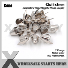 Punk English UK 77 Round Cone Stud 12x11mm in Silver Nickel with 2 Prongs for Leather Craft/Bag/Shoes
