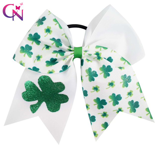 73a2b251eafd6 St.Patrick s Day s Cheer Bows With Elastic Band For Kids Girls Glitter  Shamrock Ponytail Hair Bows Hair Accessories 3 Pieces