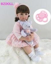 Edição limitada 60 cm silicone renascer criança menina bebê boneca lifelike vinil rosa princesa brinquedo com urso presente de aniversário