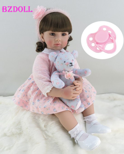 60cm Silicone Reborn Toddler Girl Baby Doll Lifelike Vinyl Pink Princess Toy With Bear Birthday Gift Limited Edition Doll