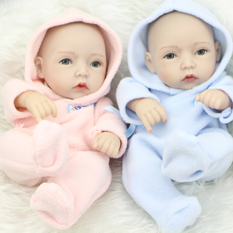 Full silicone soft vinyl 11 inch reborn baby dolls twins little peanut lifelike newborn girl and boy babies kids playmate in dolls from toys hobbies on