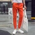 Men's Spring Autumn High Quality Brand Linen Jogger Khaki Pants Male Emoji Joggers Trousers Casual harem pants Teenager