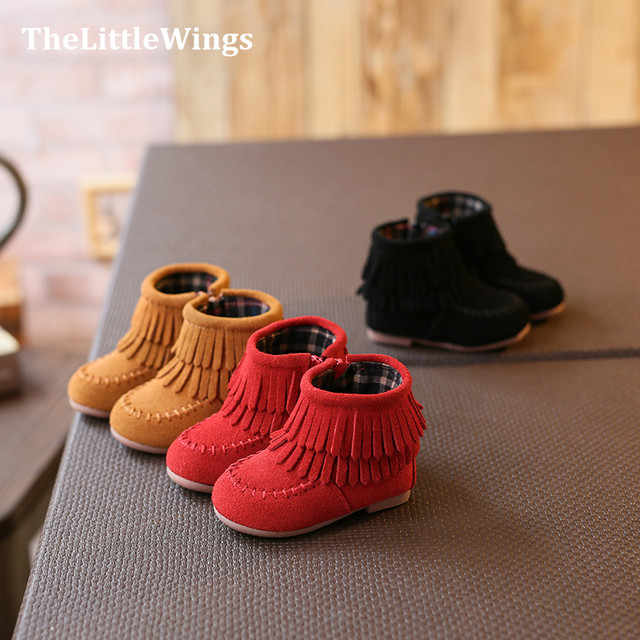 2016 winter new Fashion baby girl shoes chaussure ankle boots genuine leather cute flat princess Martin boots toddler shoes Girl's Shoes