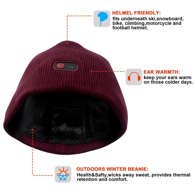 7.4V battery heated caps keep warm winter outdoor sports quick heating head warmer 3 levels control women Red 2018 3
