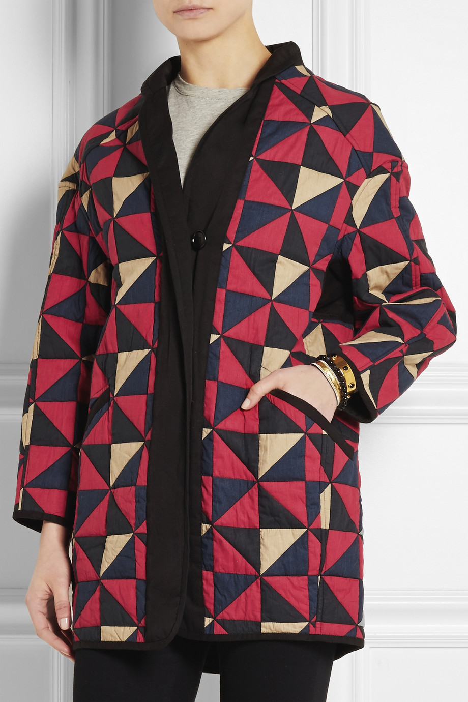 2015ss Enid Original Women Colorful triangles patchwork Reversible Padded Coat Quilted Parkas Jacket Pocket сумка reversible belt 2015