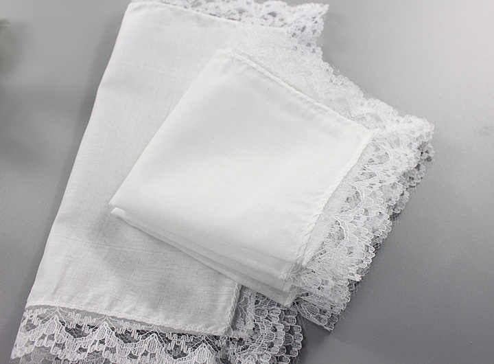 Novelty Wedding White Women Lace Handkerchief Cloth Napkin Portable Table Napkin 100% Cotton Tea Towel Thin Hanky guardanapo H06