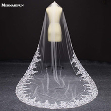 2017 Real Photos Bling Sequins Partial Lace Edge One Layer Cathedral Wedding Veil with Comb Elegant Bridal Veil Velo De Novia